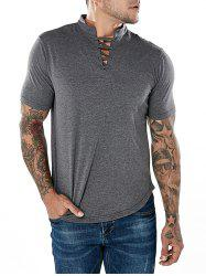 Short Sleeve Drawstring Mandarin Collar T-shirt -