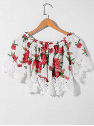 Lace Crochet Allover Flower Print Crop Top -