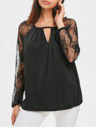 Lace Sleeve Cutout Blouse -