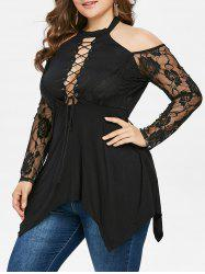 Plus Size Halter Neck Lace Up T-shirt -