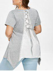 Plus Size Lace Up Back Handkerchief T-shirt -