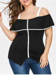 Plus Size Cold Shoulder Zip Up Top -