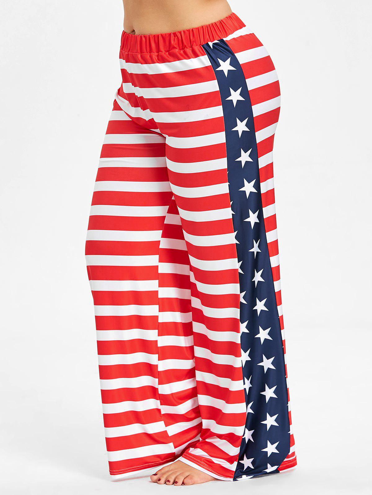 Store Plus Size American Flag Wide Leg Pants