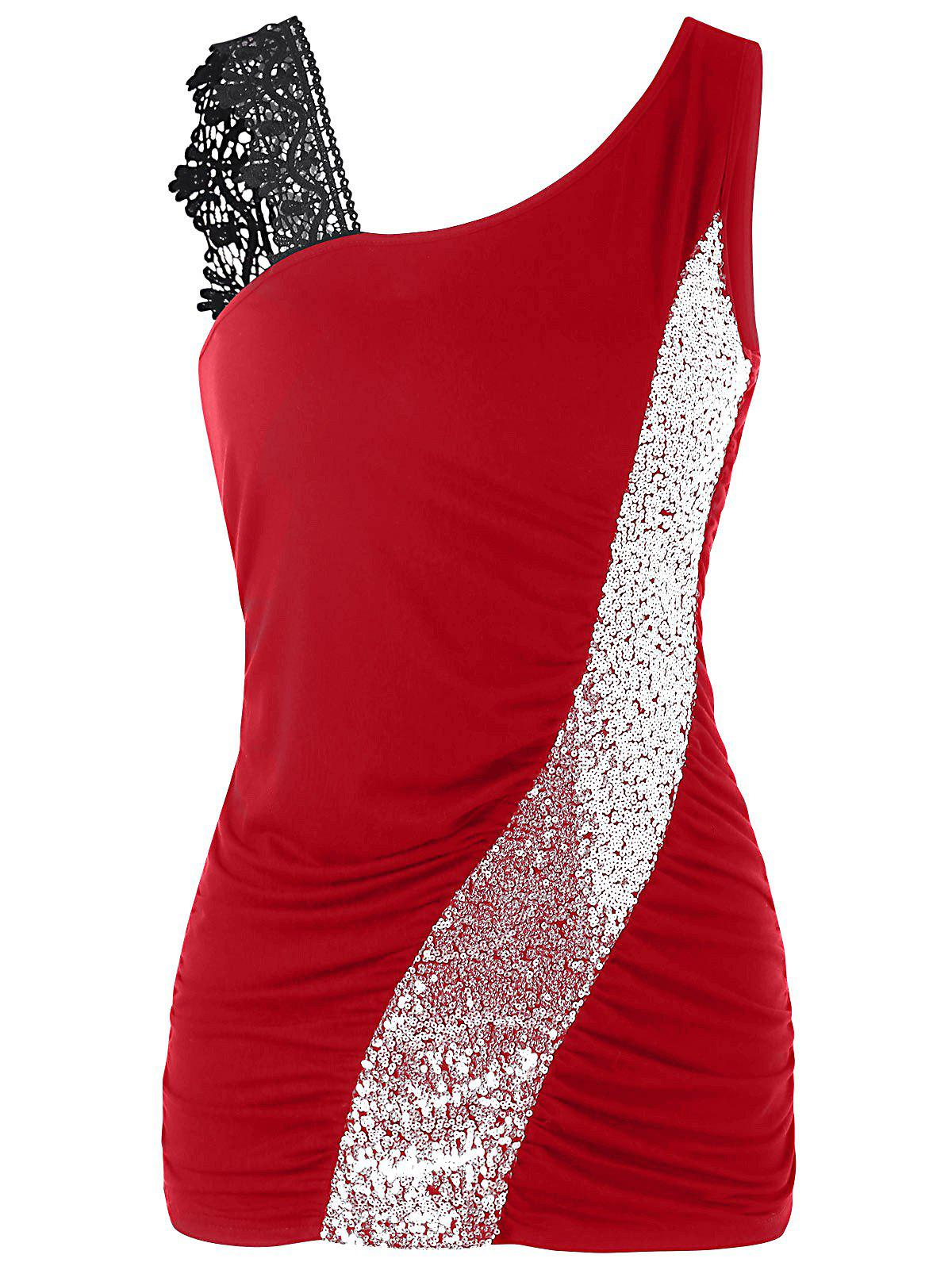 Fashion Skew Collar Sequined Fitted Tank Top