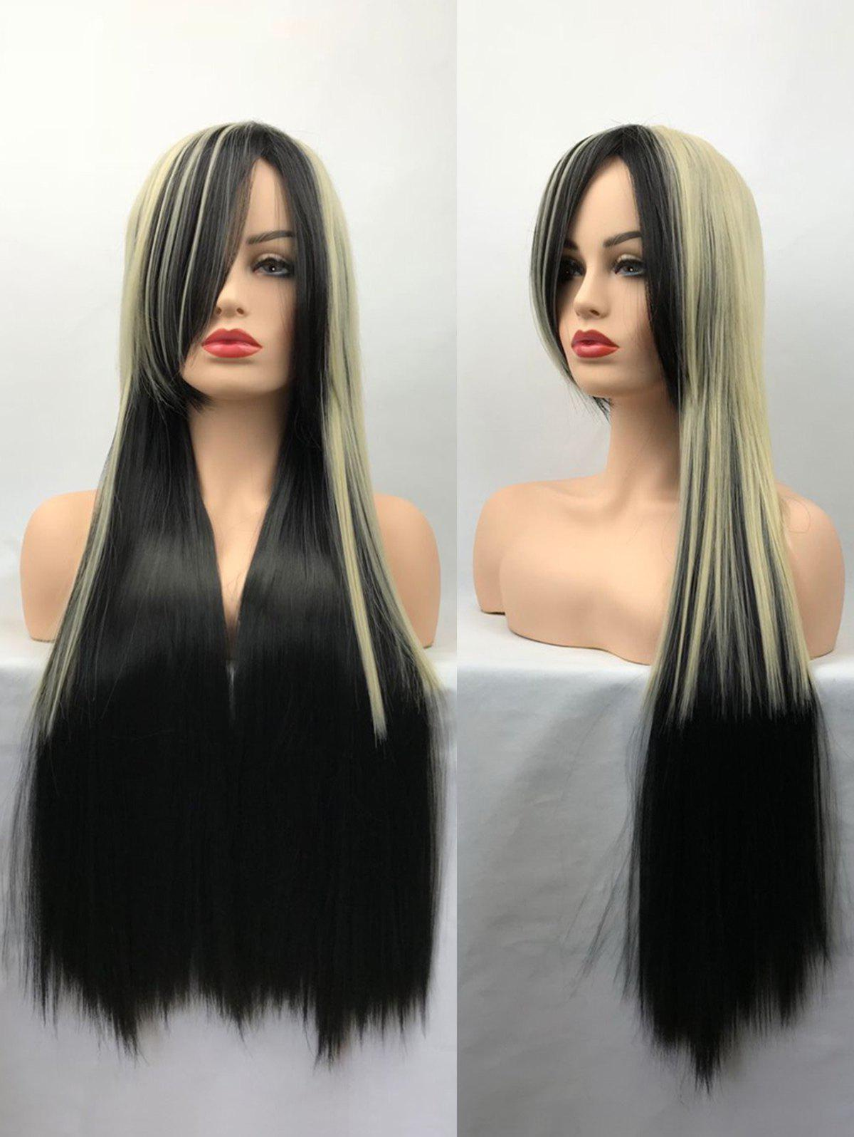 Affordable Long Side Bang Straight Colormix Cosplay Synthetic