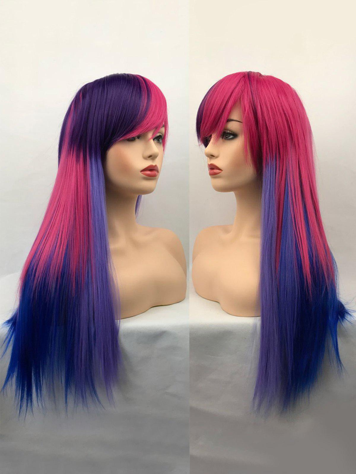 Fancy Long Inclined Bang Colormix Straight Synthetic Cosplay Wig