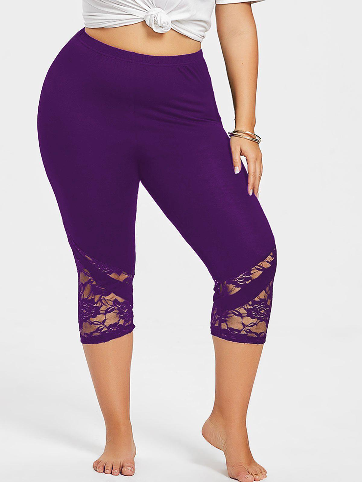 Sale Lace Panel Plus Size Cropped Leggings