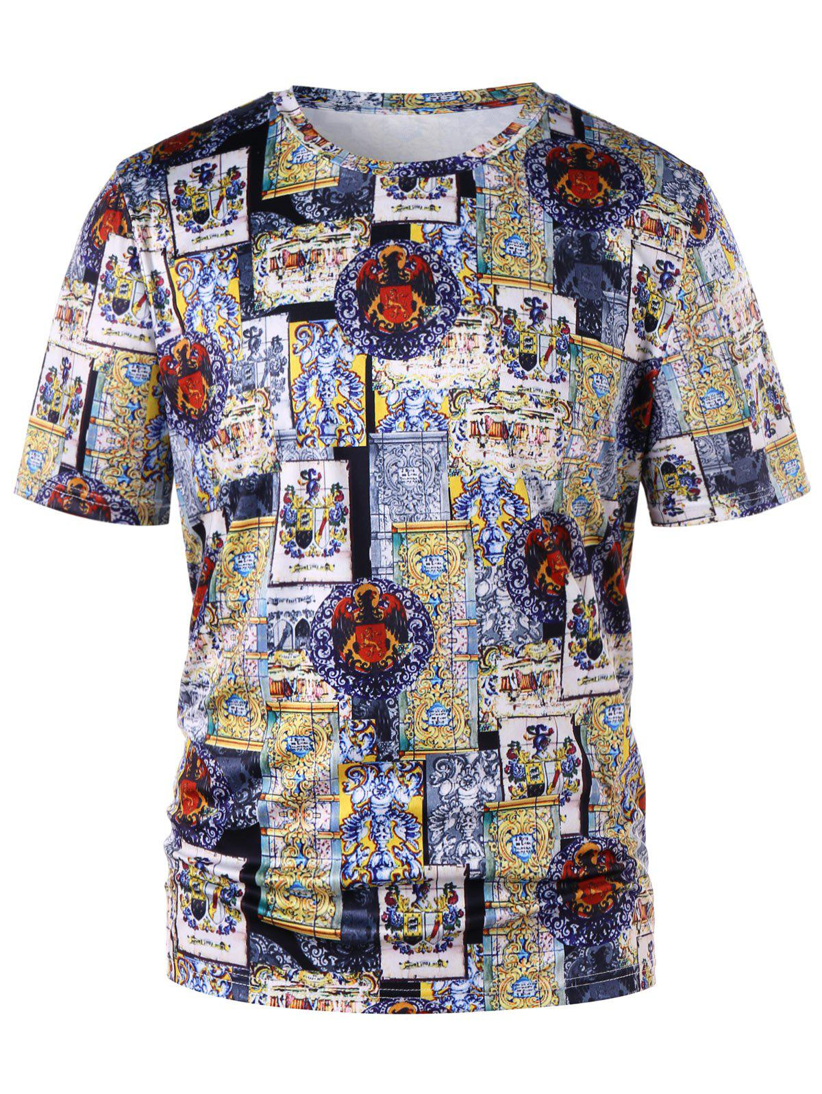 Outfit Crew Neck Short Sleeve Ethnic Print T-shirt