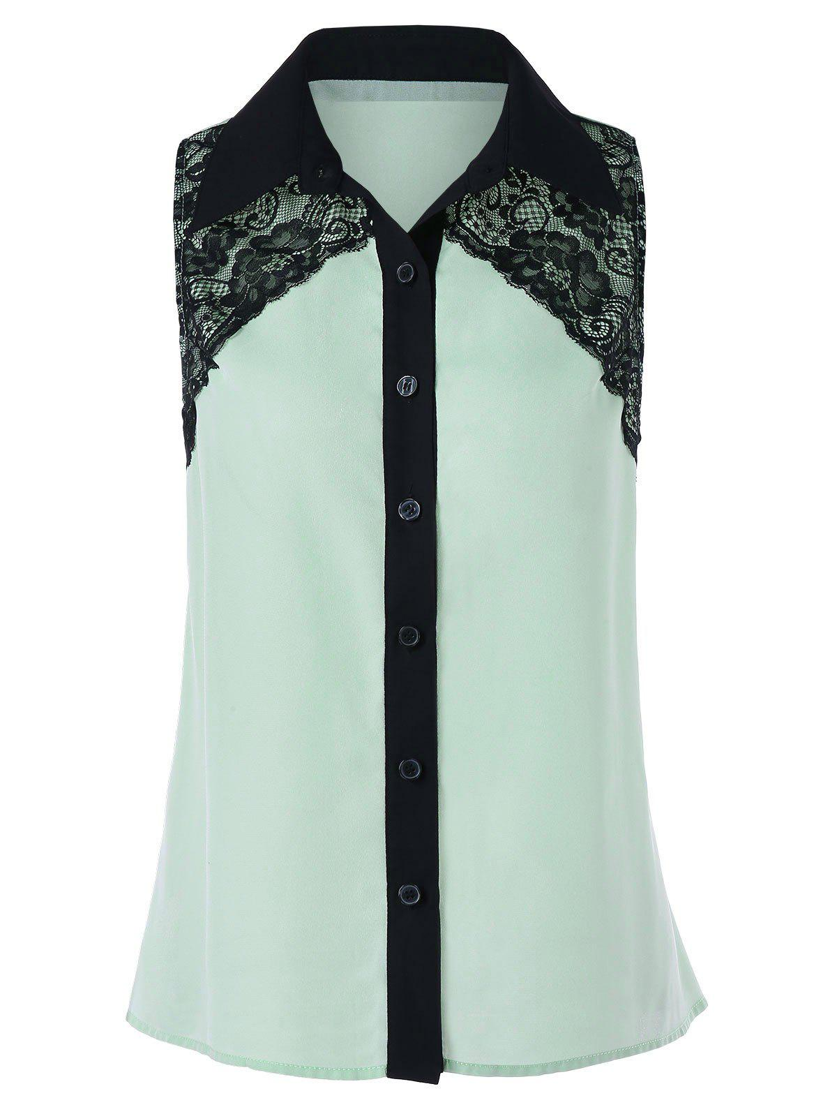 Best Button Up Sleeveless Lace Design Shirt