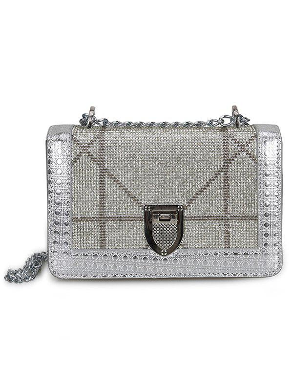 Hot Shimmer Rhinestone Decorated Crossbody Bag with Chain