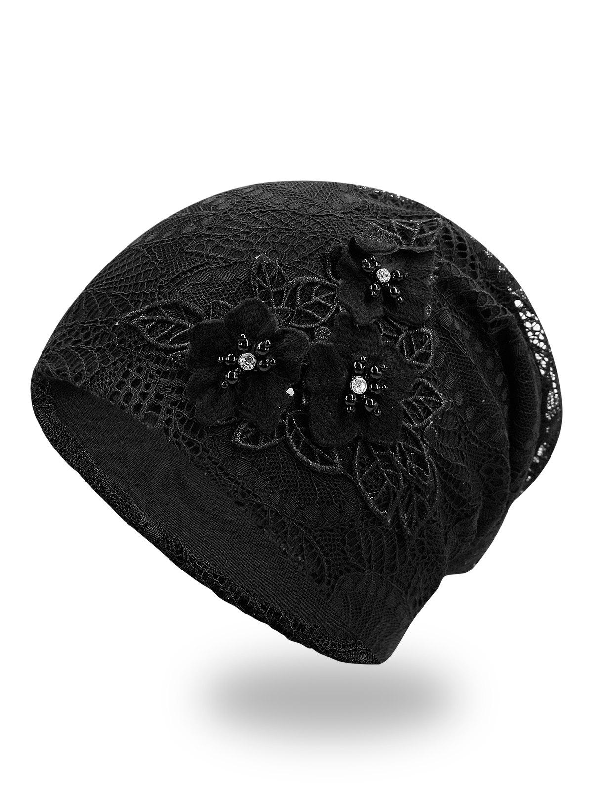 Chic Stylish Faux Pearl Flowers Lace Beanie