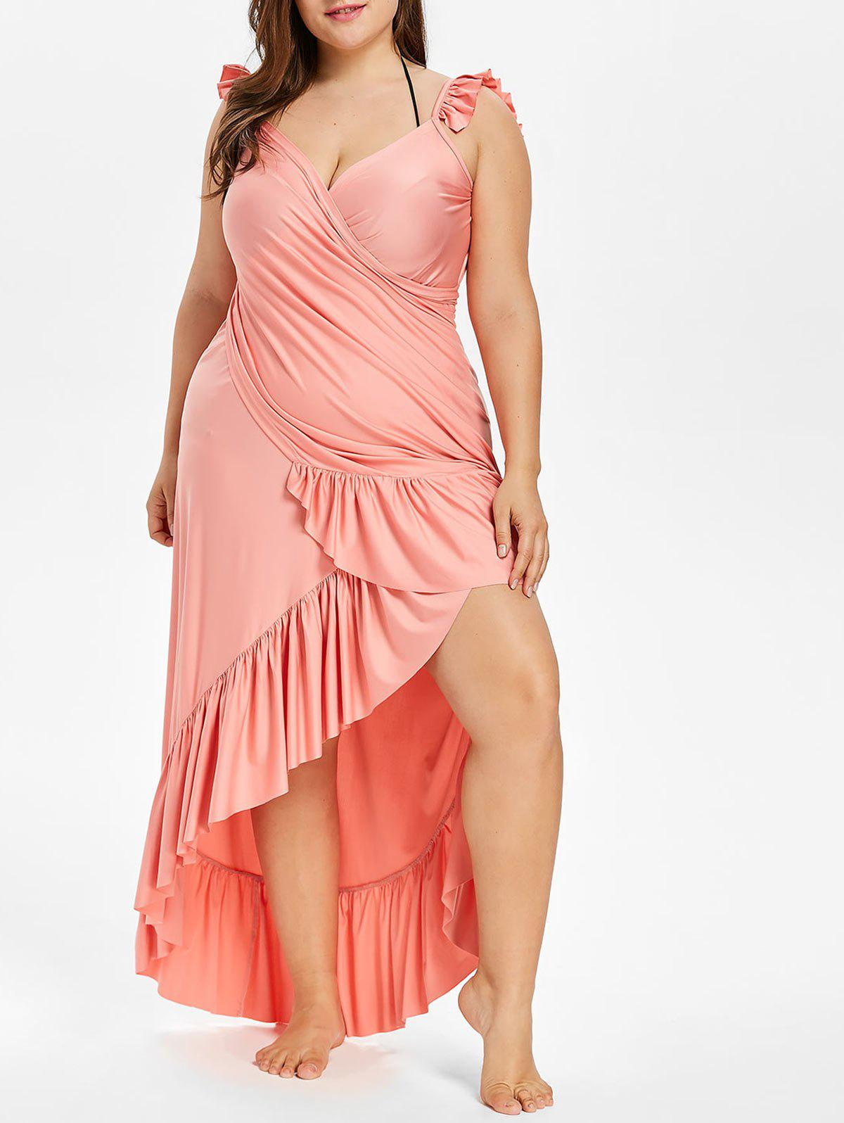 Discount Plus Size Long Wrap Cover Up Dress