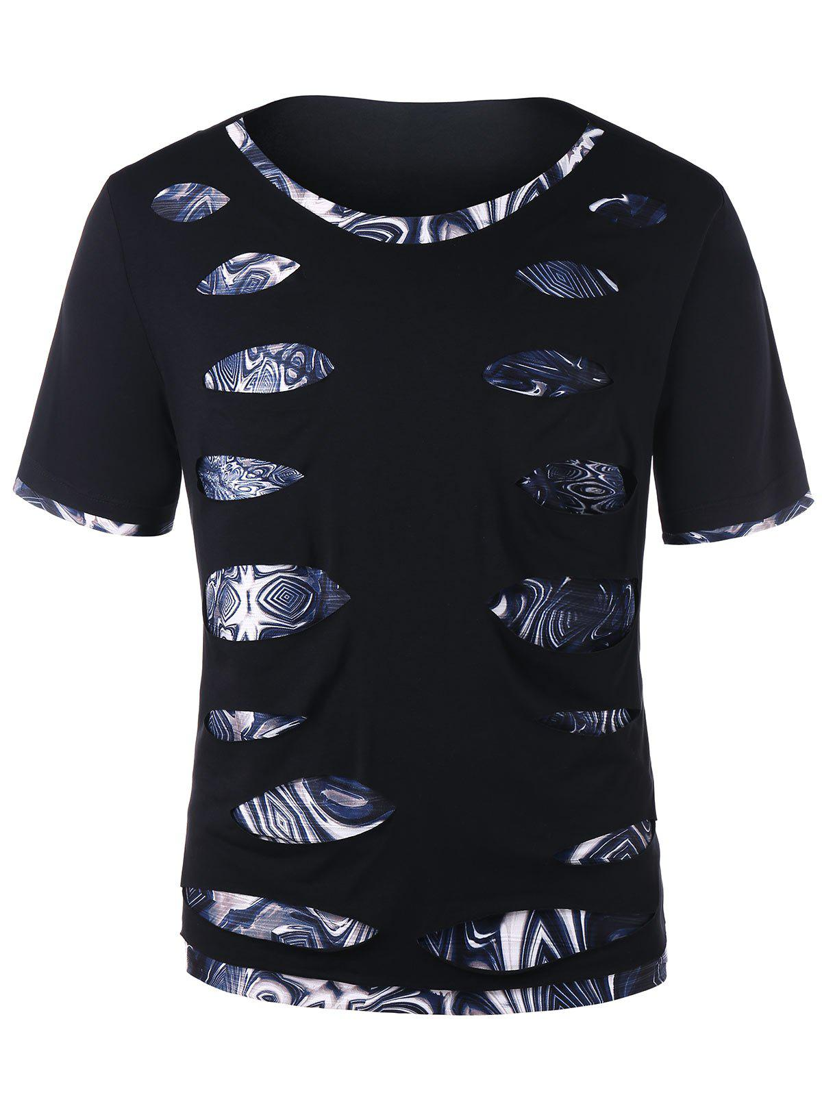 Online Short Sleeve Trippy Print Ripped Tee
