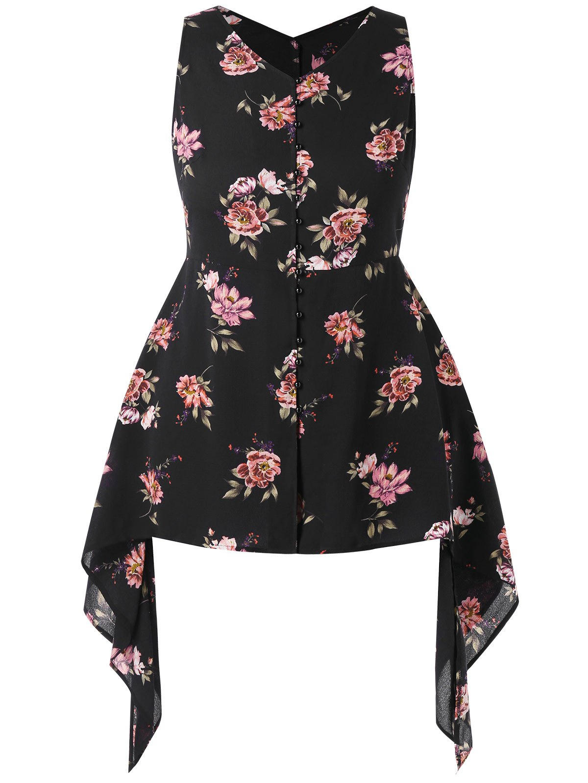 Unique Plus Size Floral Print Asymmetric Top