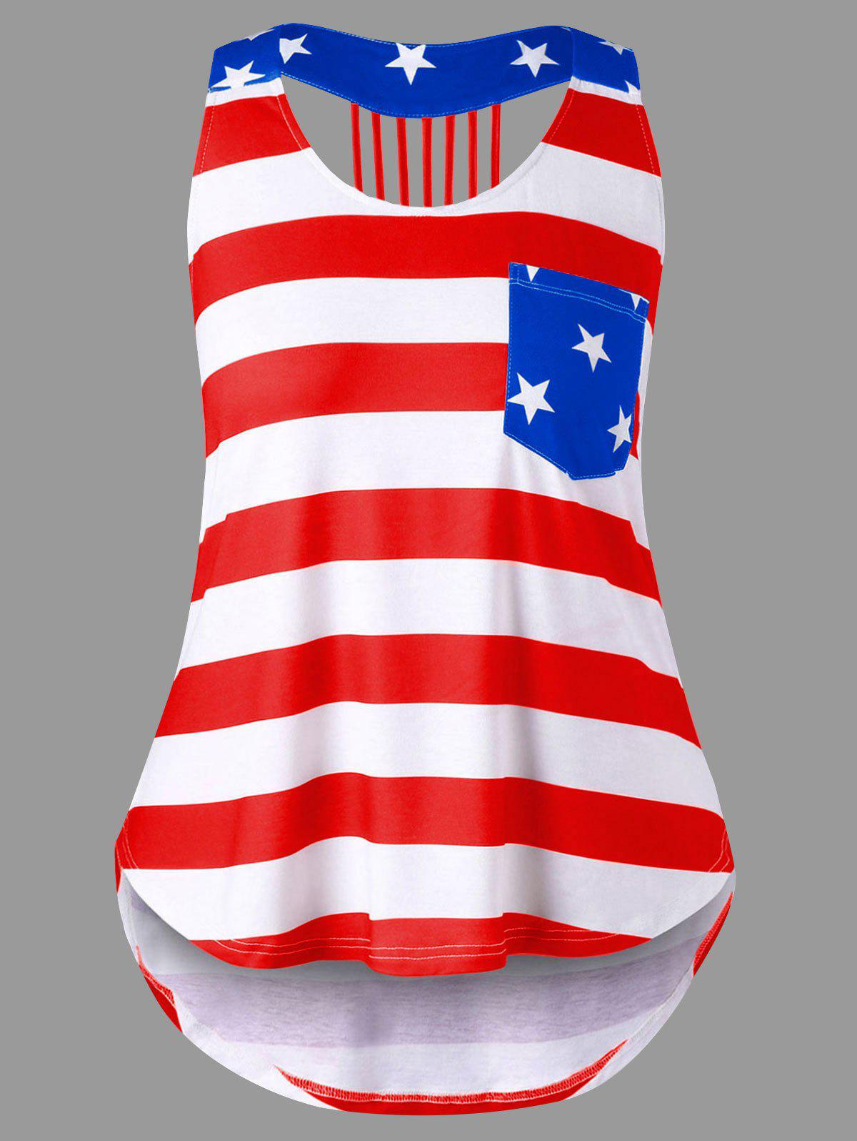 Plus Size American Flag High Low Tank Top