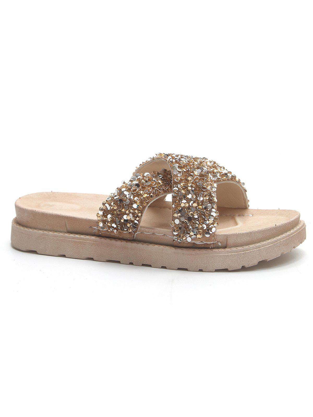 Shop Sequins Chic Vacation Leisure Slippers