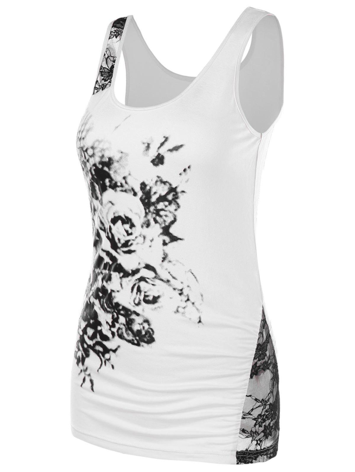 Cheap Rose Print Fitted Tank Top