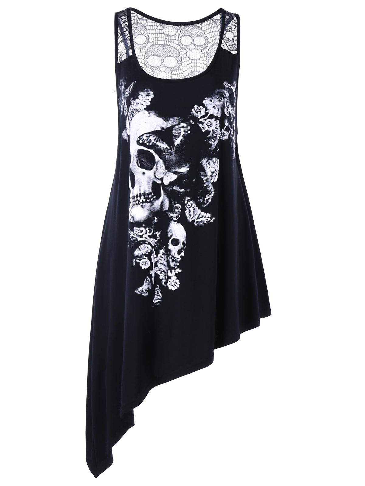 7f2792d8a5faa Outfits Plus Size Lace Yoke Asymmeric Skull Tank Top