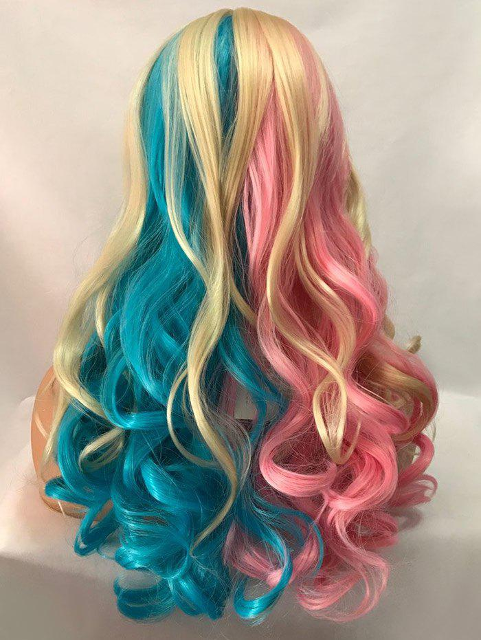 Trendy Long Center Parting Colormix Wavy Cosplay Party Synthetic Wig
