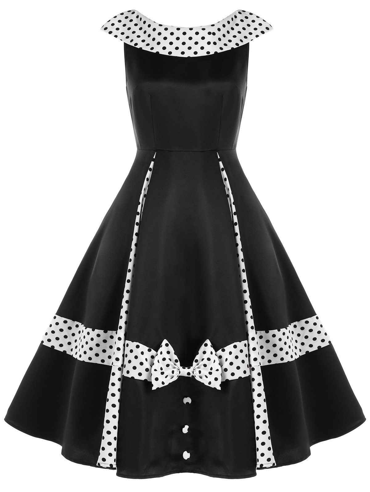 Unique Sleeveless Polka Dot Retro Dress