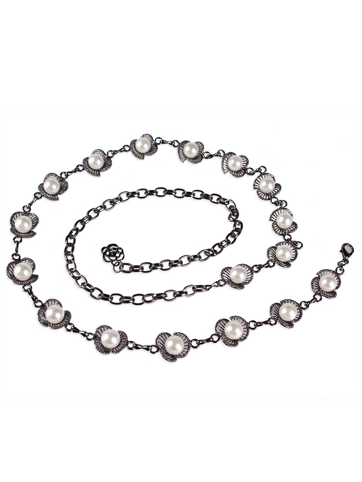 Affordable Stylish Artificial Pearl Embellished Carved Metal Dress Belt
