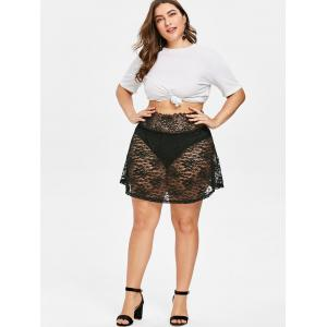 Plus Size Sheer Mini Lace Skirt -