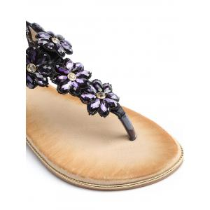 T Strap Faux Crystal Floral PU Leather Sandals -