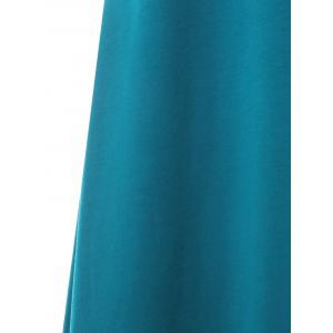 Asymmetrical Hooded Color Block Midi Dress -