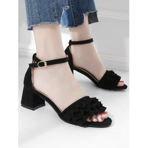 Ruffle Ankle Strap Chunky Heel Pumps -