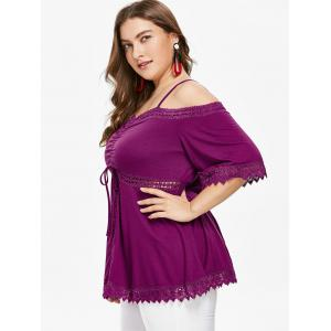 Gathered Plus Size Open Shoulder Tee -