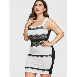 Plus Size Lace Trim Square Neck Fitted Dress -