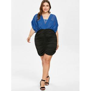 Ruched Plus Size Lace Panel Blouson Dress -