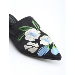 Bout pointu Toe Flower Embroidery Mules Chaussures -