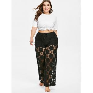Plus Size Lace Overlay Pants -