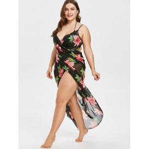 Plus Size Floral Chiffon Cover Up Dress -