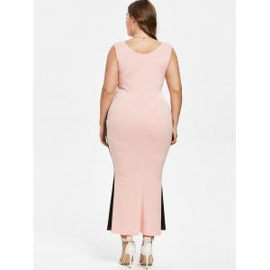 Plus Size Plunging Neck Maxi Mermaid Dress -