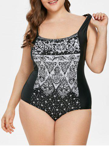 Affordable Plus Size Snowflake Print Swimsuit