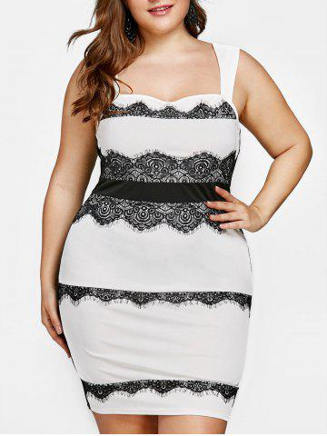 Cheap Plus Size Lace Trim Square Neck Fitted Dress