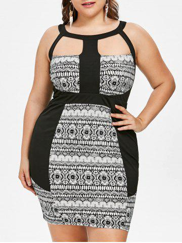 Store Plus Size Tribal Print Cutout Fitted Dress