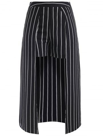 Fashion Striped Shorts with Maxi Skirt Overlay