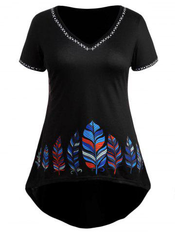 Latest Plus Size Feather High Low Dress
