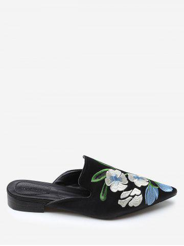 Bout pointu Toe Flower Embroidery Mules Chaussures