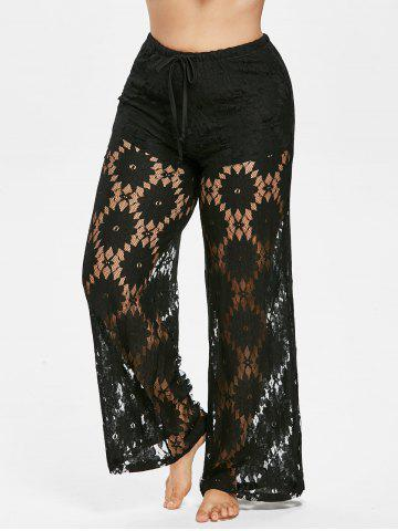 Affordable Plus Size Lace Overlay Pants