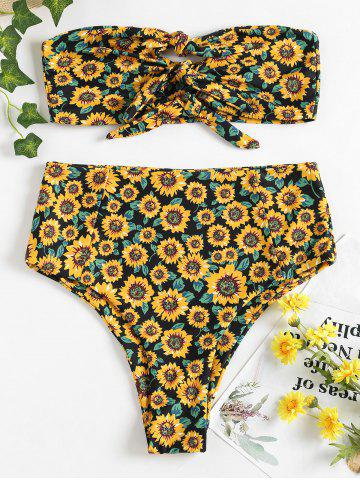 Affordable Strapless High Rise Sunflower Swimsuit