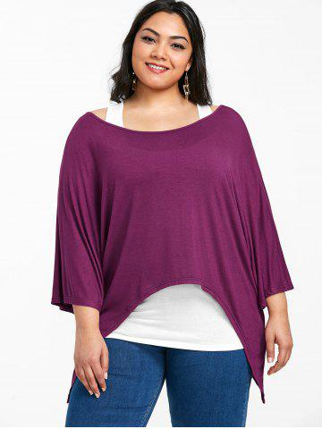 Plus Size Batwing Sleeve Asymmetrical Tee With Tank Top