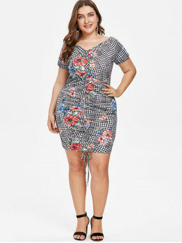 775a94d81d5 Plus Size Houndstooth Floral Ruched Dress
