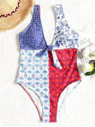 High Leg Cut Out Printed Swimsuit -