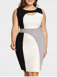 Plus Size Cut Out Color Block Work Dress -