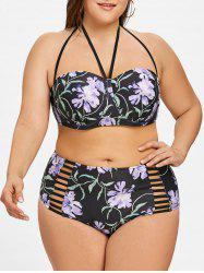 Ladder Cutout Plus Size High Waist Underwire Bikini -