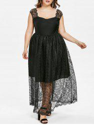 Plus Size Lace Insert Sweetheart Dress -